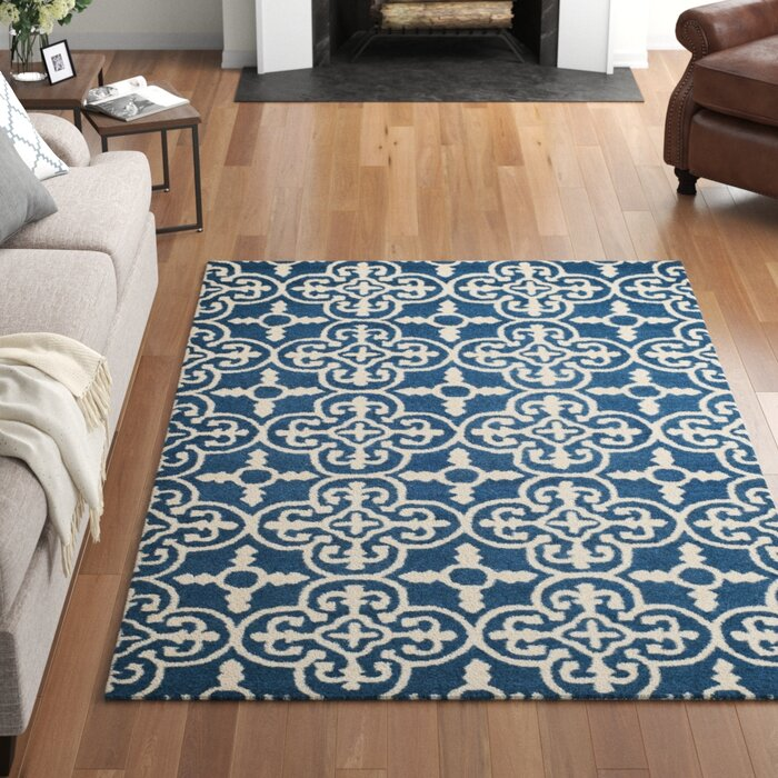 Byron Hand Tufted Wool Navy Blue Ivory Area Rug