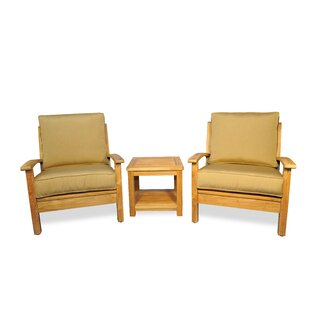 Teak 3 Piece Conversation Set with Sunbrella Cushions by Regal Teak