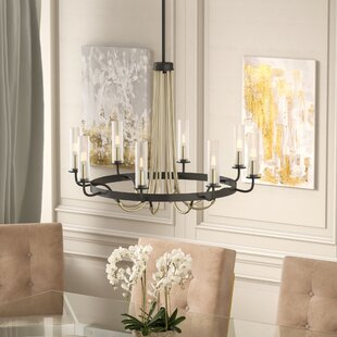 Willa Arlo Interiors Desaree 8-Light Shaded Wagon Wheel Chandelier