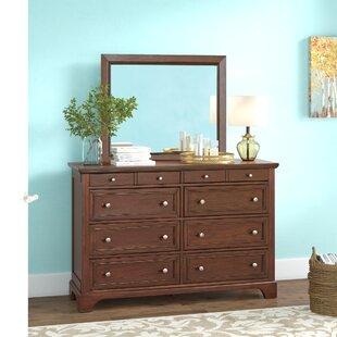 Three Posts Borden 8 Drawer Double Dresser with Mirror