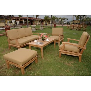 Brianna 5 Piece Teak Sofa Seating Group with Sunbrella Cushions