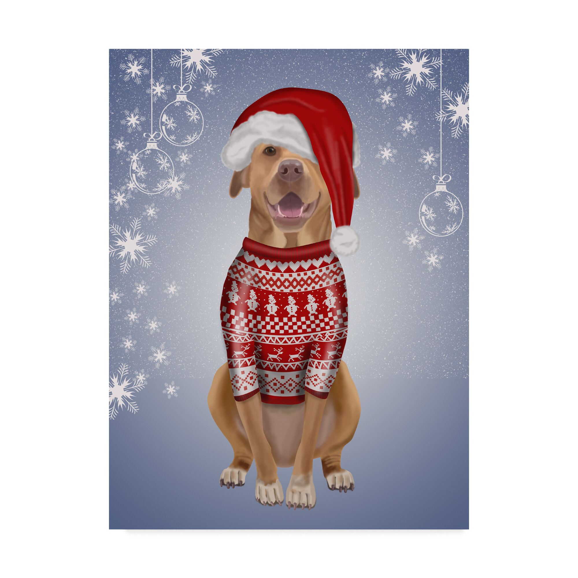 the holiday aisle pitbull in christmas sweater graphic art print on wrapped canvas wayfair