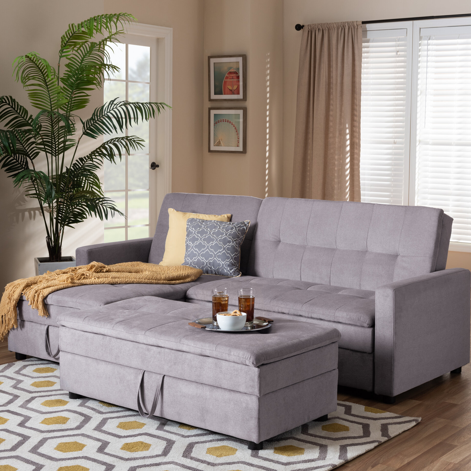 Bihari Modern and Contemporary Left Hand Facing Sleeper Sectional with  Ottoman