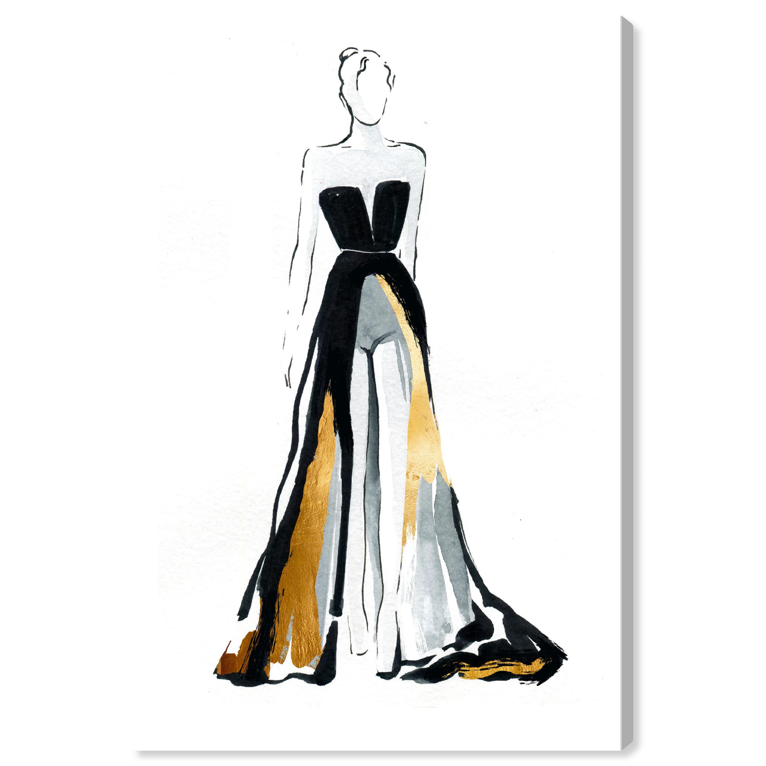 Oliver Gal Fashion And Glam Fashionista Ii Dress Graphic Art Print On Canvas Wayfair