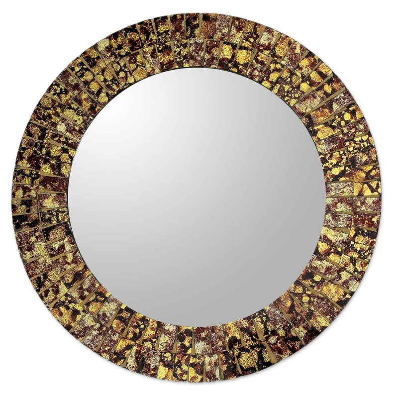 Novica round wall or table mirror with glass mosaic frame for How to make a round frame for mirror