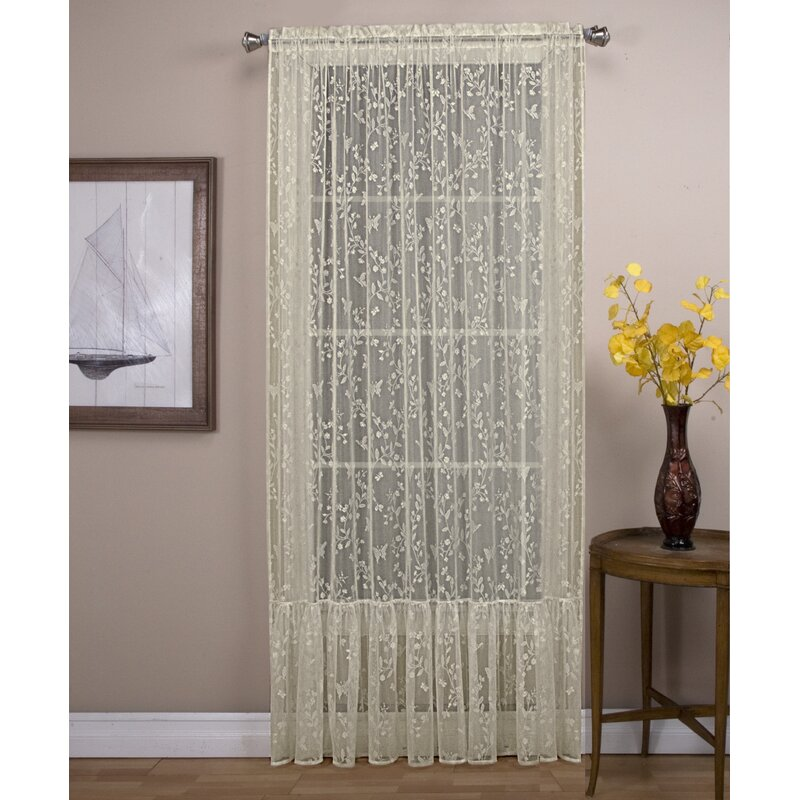 August Grove Stoltz With A Ruffle Bottom Soft Butterfly Motif Sheer Rod Pocket Single Curtain Panel