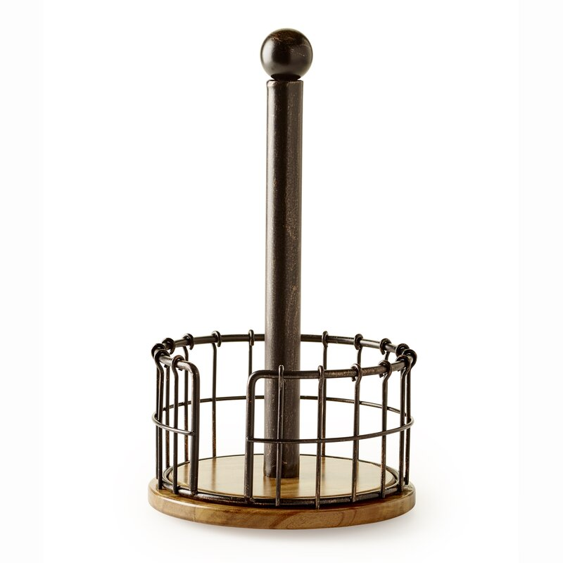 Wire/Acacia Wood Free Standing Paper Towel Holder