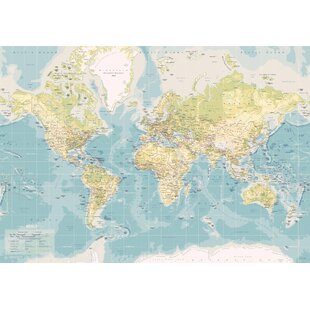 Large world map canvas wayfair world map graphic art on canvas in blue gumiabroncs Images