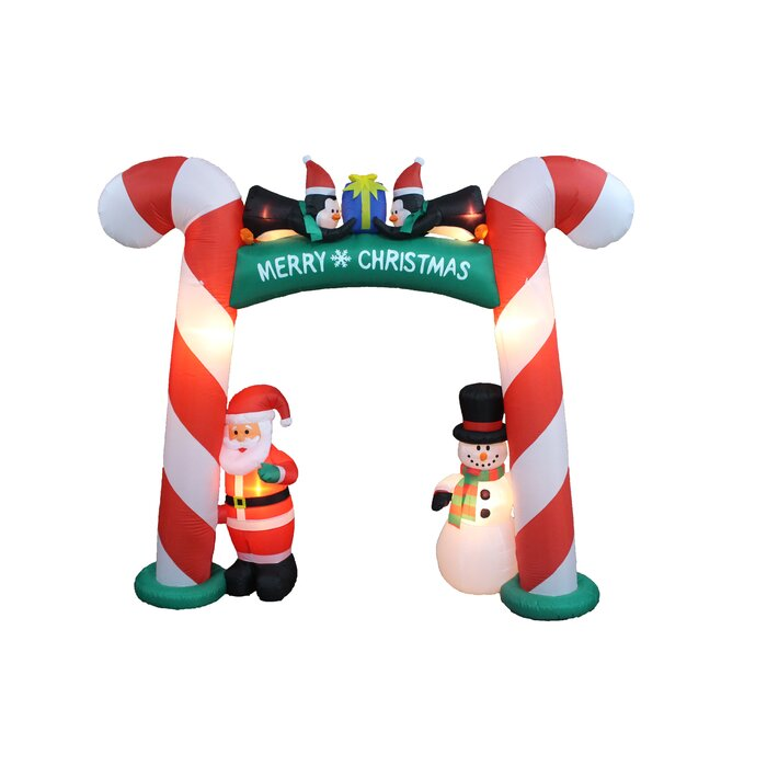 Christmas Inflatable Part - 48: Christmas Inflatable Candy Cane Arch With Santa, Snowman, And Penguins