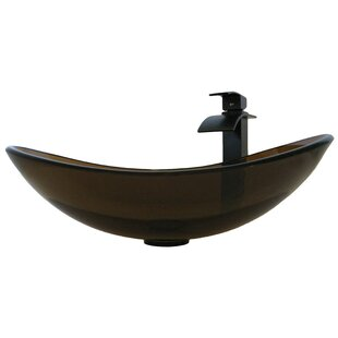 Novatto Babbuccia Glass Oval Vessel Bathroom Sink with Faucet