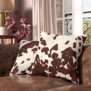 Margarida Square Cow Hide Print Throw Pillow Set Of 2