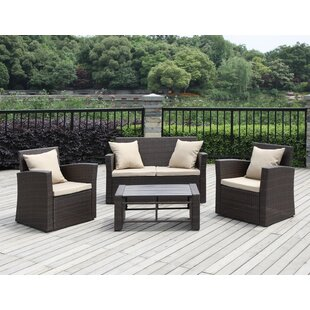 Exmouth 4 Piece Rattan Sofa Seating Group with Cushions