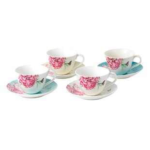 Everyday Friendship 4 Piece Teacup and Saucer Set