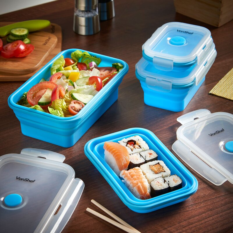 VonShef Silicone Collapsible 4 Container Food Storage Set Wayfair