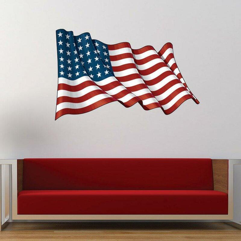 Wavey American Flag Wall Decal