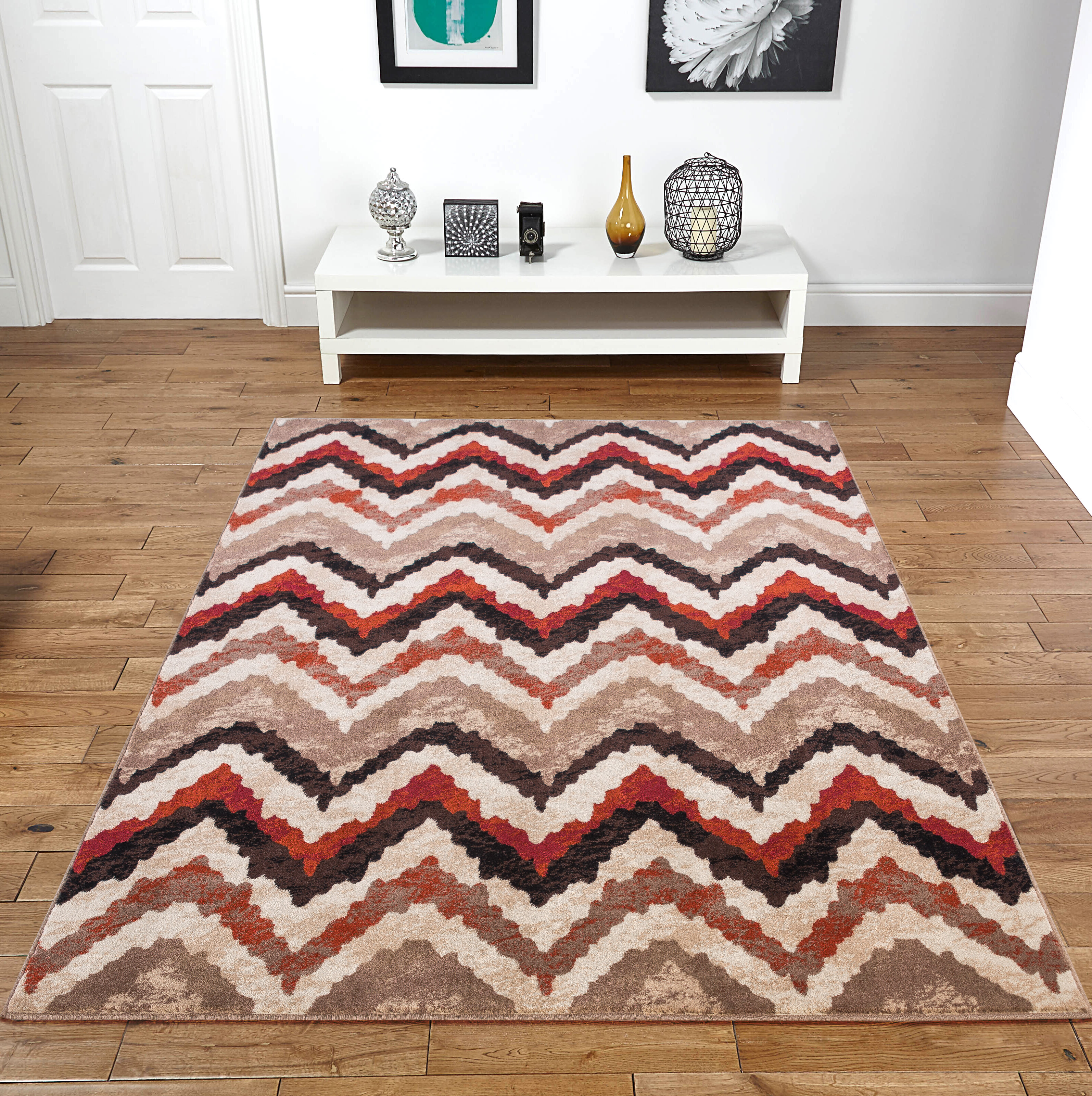 World Menagerie Elyse Chevron Brown Beige Area Rug Wayfair