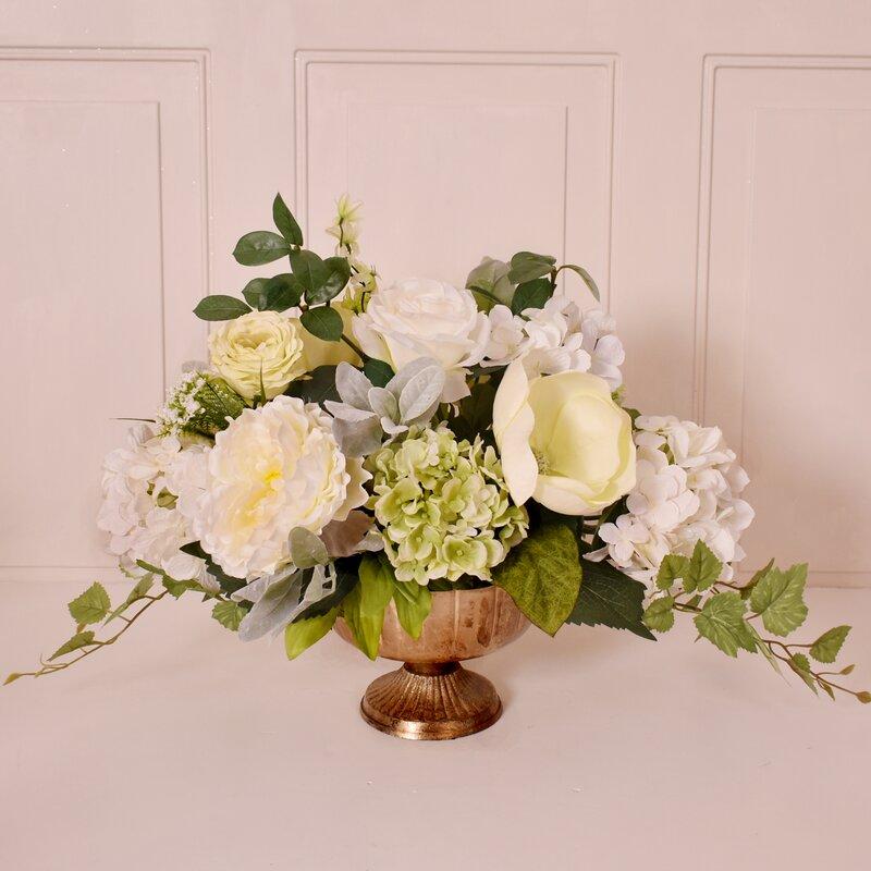Floral Home Decor Elegant Green And White Rose Hydrangea Silk Design Wayfair