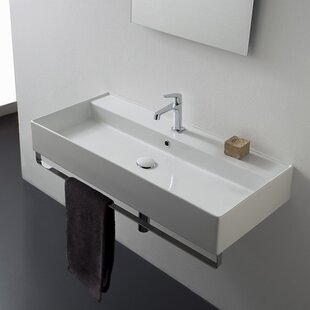 Find Teorema Ceramic 40 Wall Mount Bathroom Sink with Overflow By Scarabeo by Nameeks