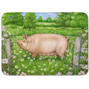 Jonah Pig in Dasies by Debbie Cook Memory Foam Bath Rug