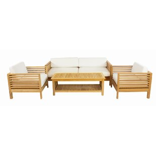 Crider 4 Piece Teak Sunbrella Sofa Set with Cushions by Rosecliff Heights