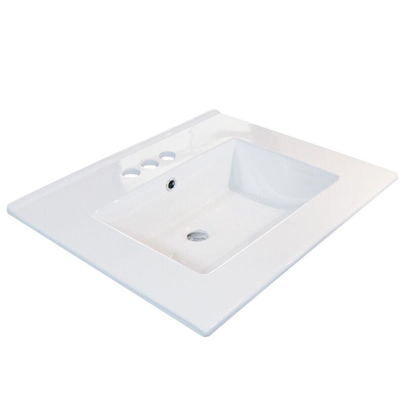 Eclife White Ceramic Rectangular Drop In Bathroom Sink With Overflow Wayfair