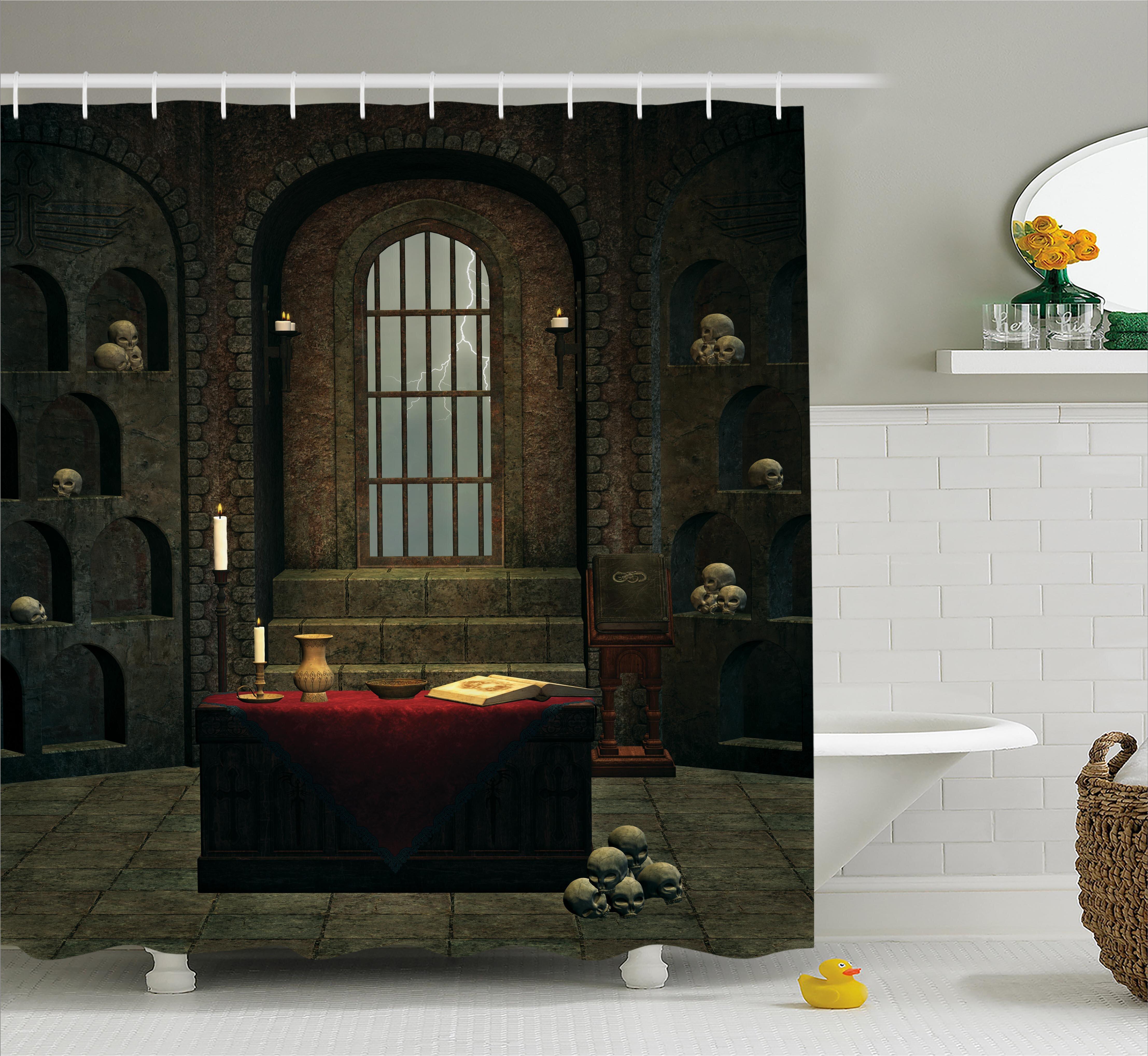 "Halloween Dark Stone Altar Skulls Candles Shower Curtain Set Bathroom Decor 72/"""