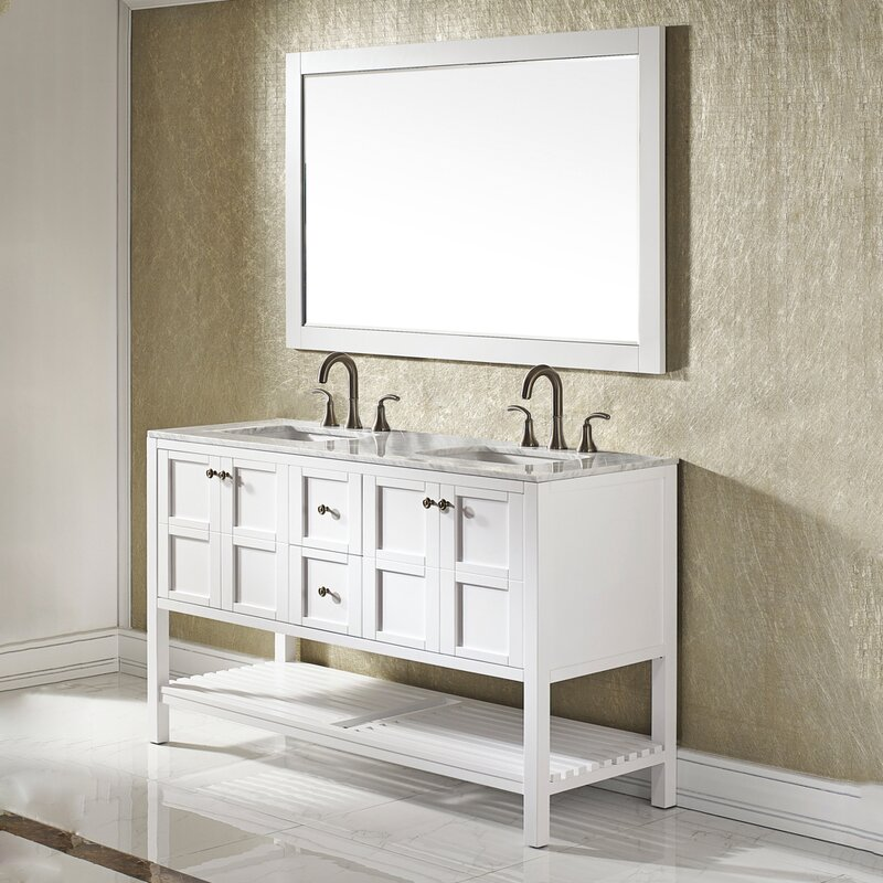 Caldwell 60  Double Bathroom Vanity Set with Mirror Vanities You ll Love Wayfair