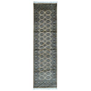 One-of-a-Kind San Pe Royal Bukhara Oriental Hand-Woven Wool Tan Area Rug