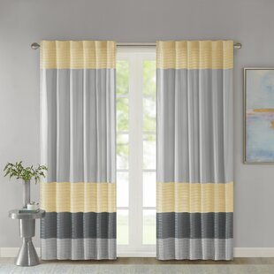 Liesel Striped Light Filtering Rod Pocket Single Curtain Panel