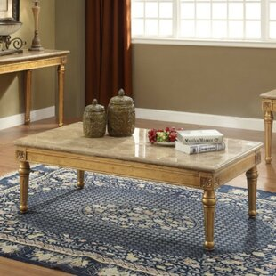 Amaris Traditional Rectangular Wood and Marble Coffee Table