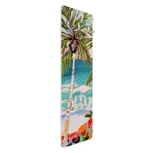 Palm Trees With Pink Flowers I Wall Mounted Coat Rack By Symple Stuff