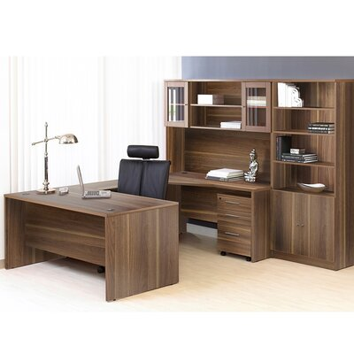 Comm Office Marta Executive 6 Piece U-Shape Desk Office Suite Color: Walnut