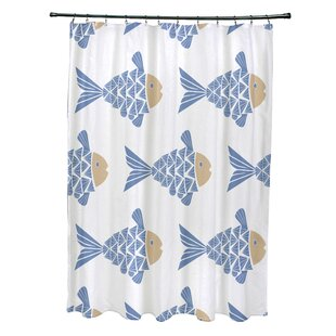 Grand Ridge Polyester Fish Tales Coastal Single Shower Curtain by Bay Isle Home 2019 Online