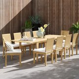 Anthony 11 Piece Teak Dining Set with Cushions