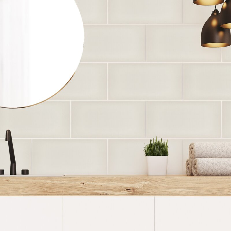 Emser Tile Ombre 6 X 12 Ceramic Subway Tile In Glossy Ivory Wayfair