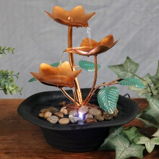 Wyoming Resin/Metal Blossom Cascading Tabletop Fountain With Light