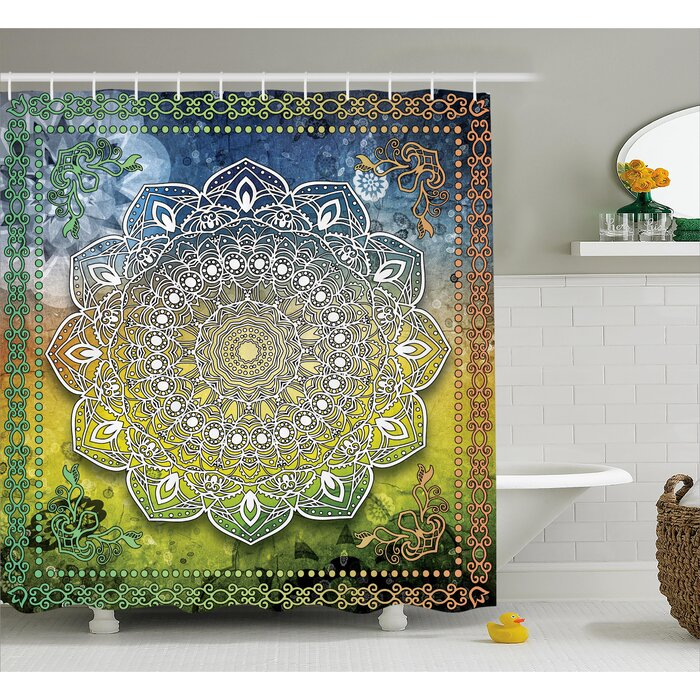 Mandala Shower Curtain Asia Spiritiual Culture Print for Bathroom
