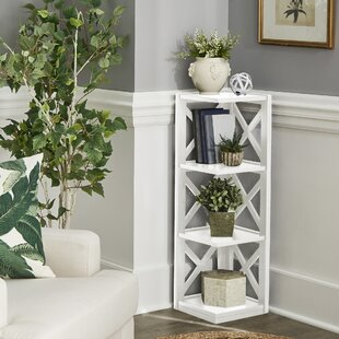 Tasnia X-Frame 3-Shelf Corner Bookcase By Gracie Oaks