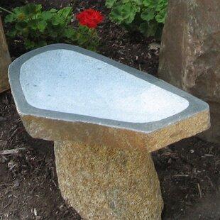 Stone Age Creations Large Granite Boulder Birdbath