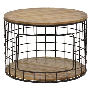Honey Metal / Wood End Table with Storage
