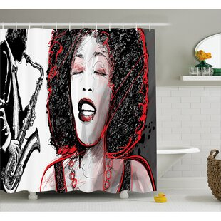 Houten Afro American Girl Sings Print Shower Curtain
