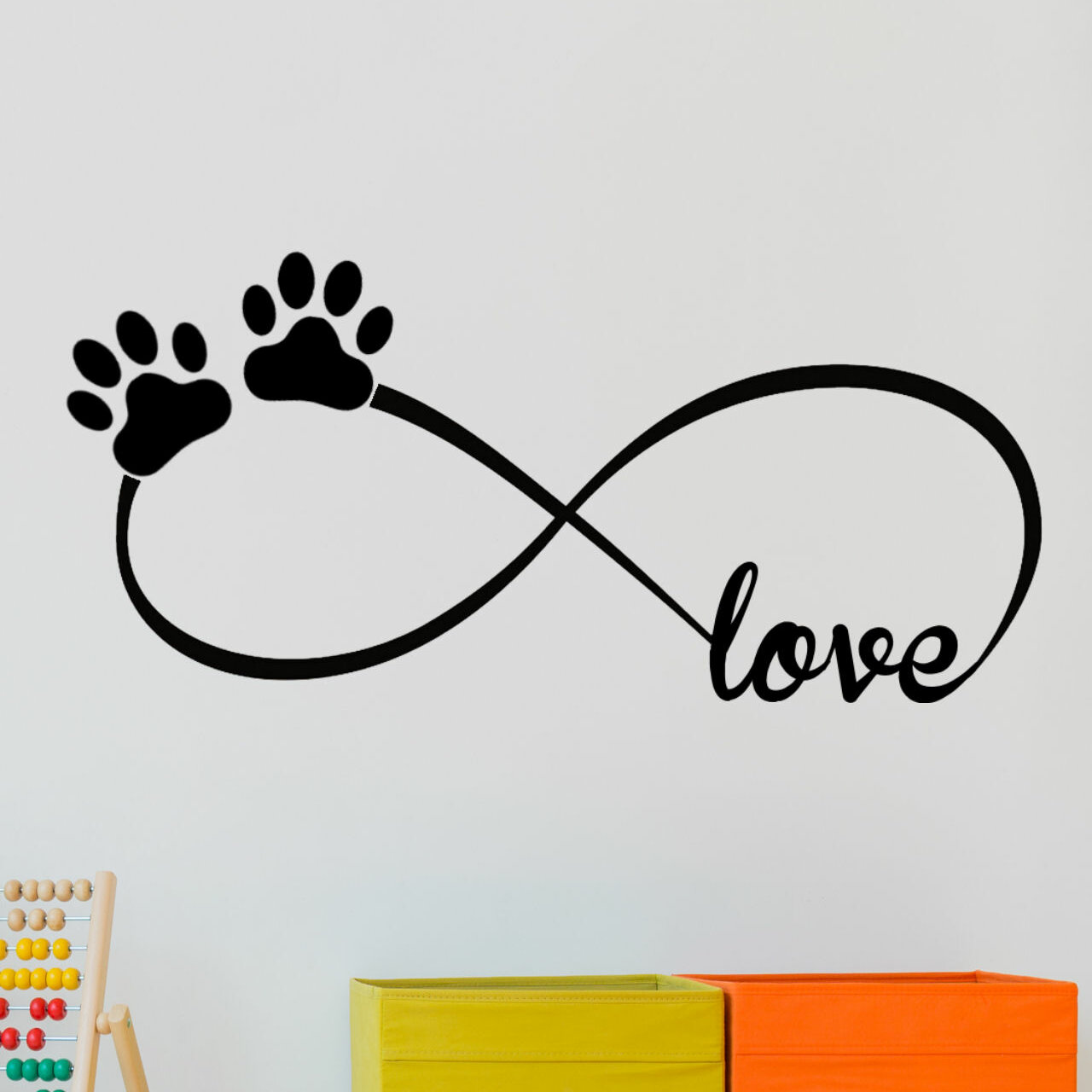 LOVE HAS FOUR PAWS wall stickers 4 decals room decor animal lover cat dog prints