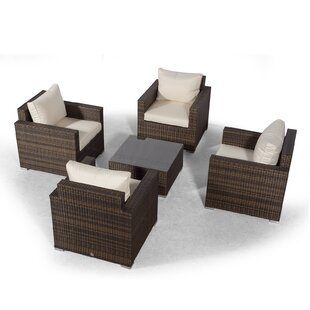 Villatoro Brown Rattan 4 X Armchairs With Square Coffee Table, Outdoor Patio Garden Furniture Image