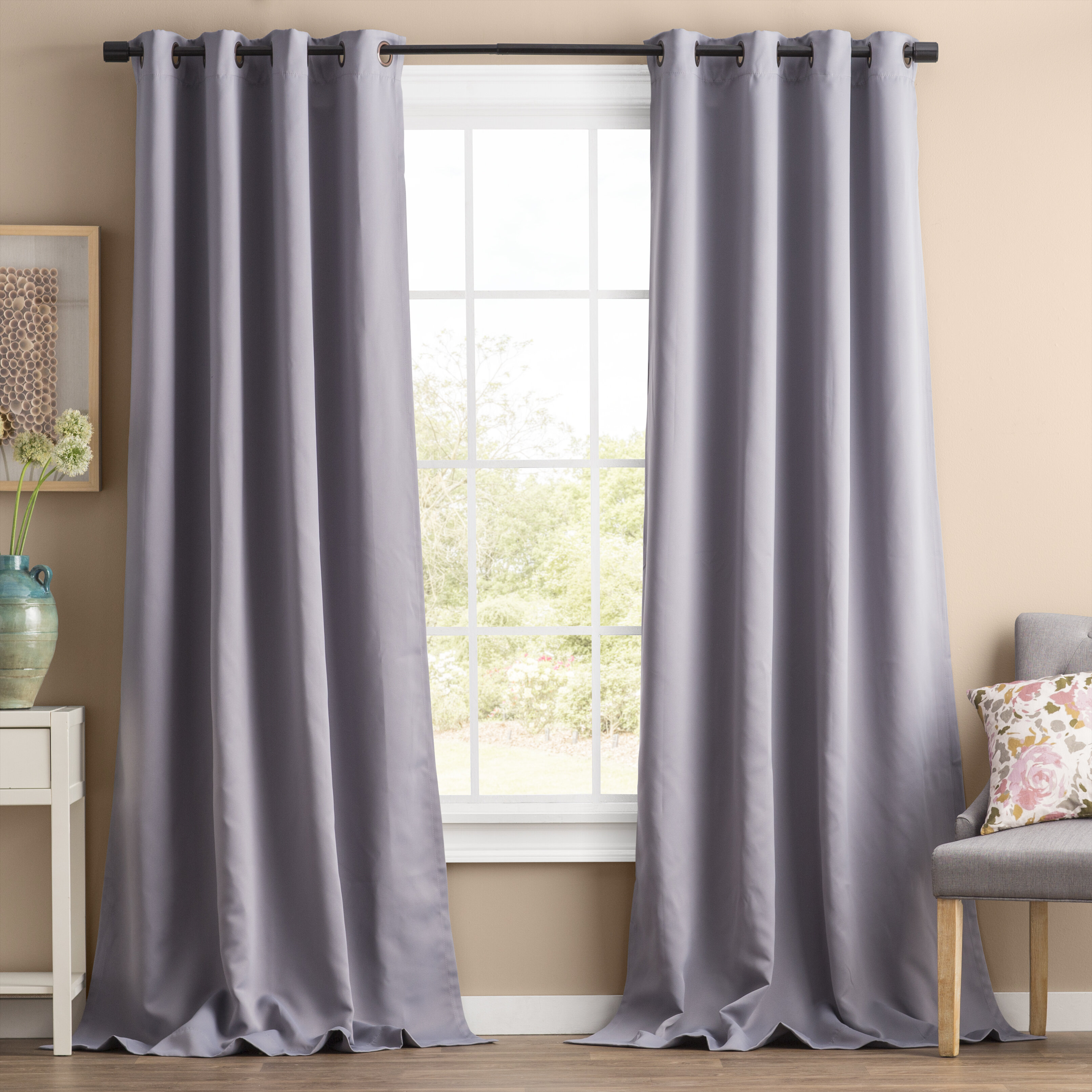 Best Home Fashion Inc Solid Blackout Thermal Grommet 2 Curtains