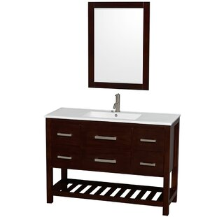 Affordable Price Natalie 48 Single Espresso Bathroom Vanity Set with Mirror ByWyndham Collection