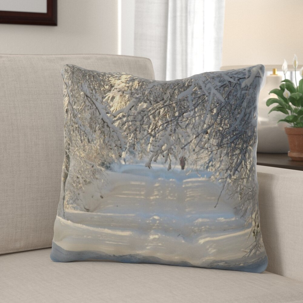 The Holiday Aisle Pouliot Winter Indoor Outdoor Canvas Throw Pillow Wayfair