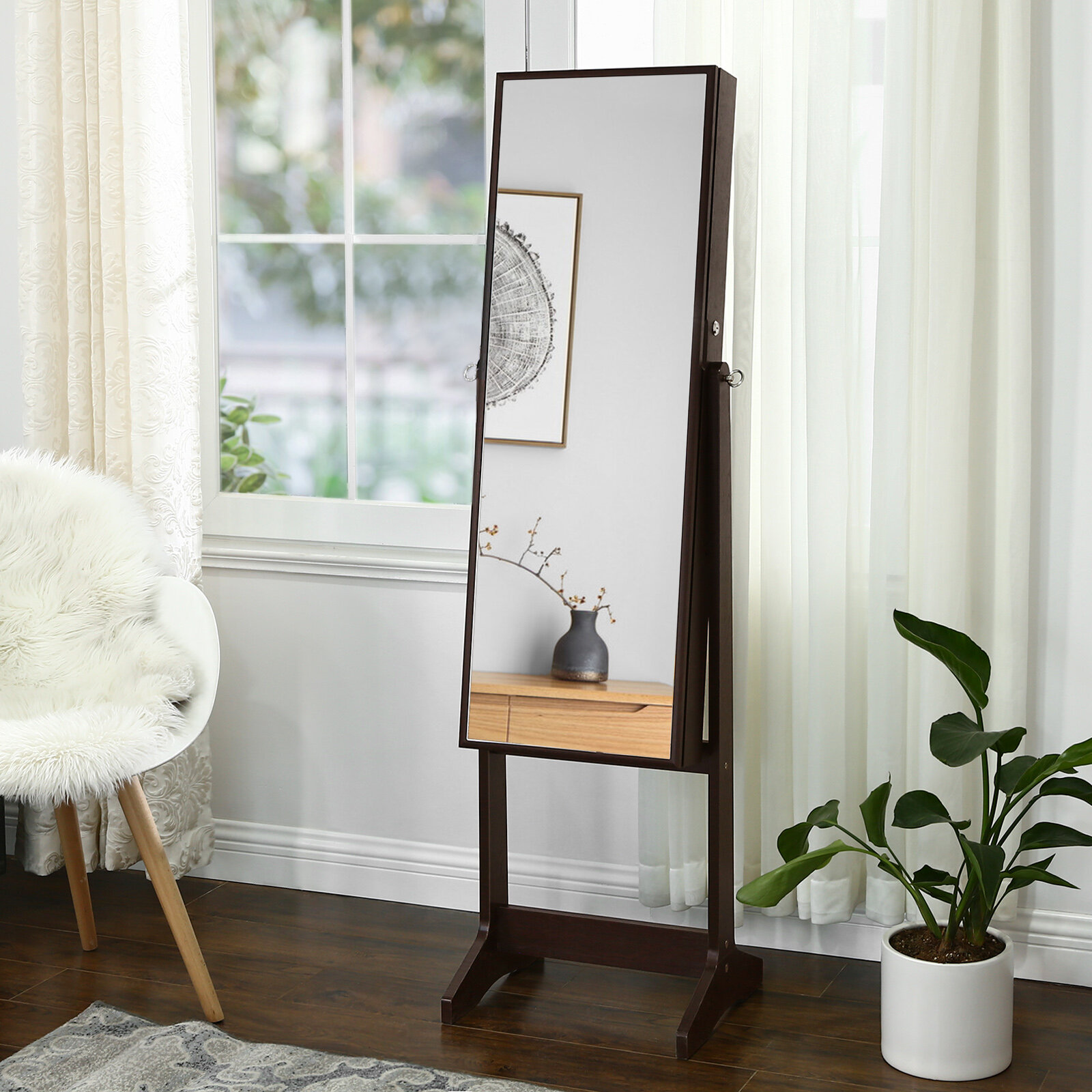 Image of: Ebern Designs Aganlane Free Standing Jewelry Armoire With Mirror Reviews Wayfair