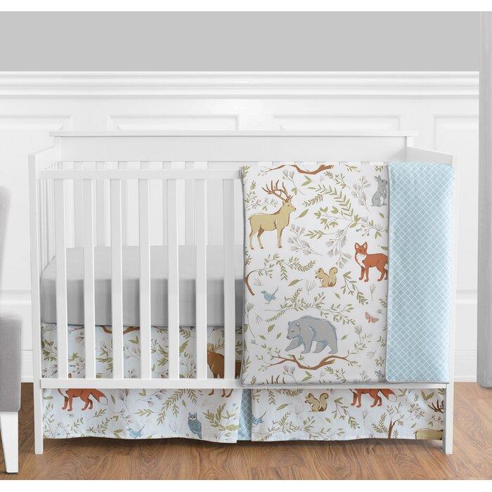 Woodland Toile 4 Piece Crib Bedding Set
