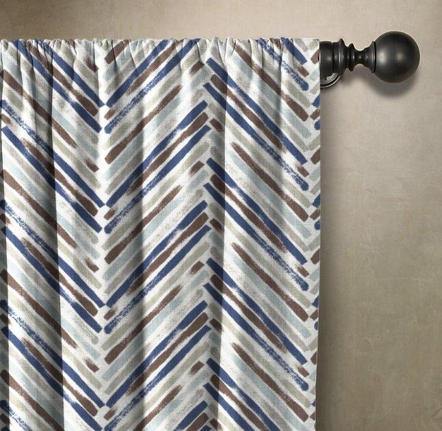 Brayden Studio Horsley Chevron Room Darkening Single Rod Pocket Single Curtain Panel Wayfair