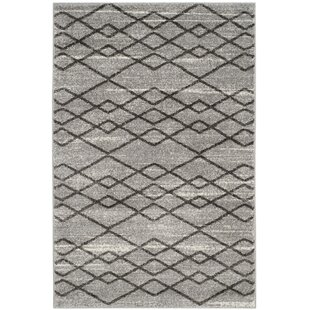 Compare prices Elsass Gray/Black Area Rug By Mercury Row